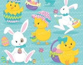 80% OFF SALE easter friends, easter bunny clipart commercial use, vector graphics, digital clip art, digital images - CL643