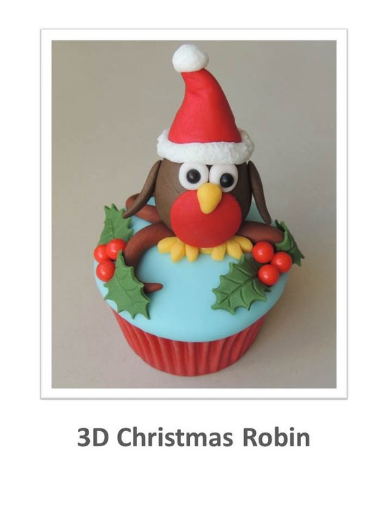 Little 3D Christmas Robin Cupcake