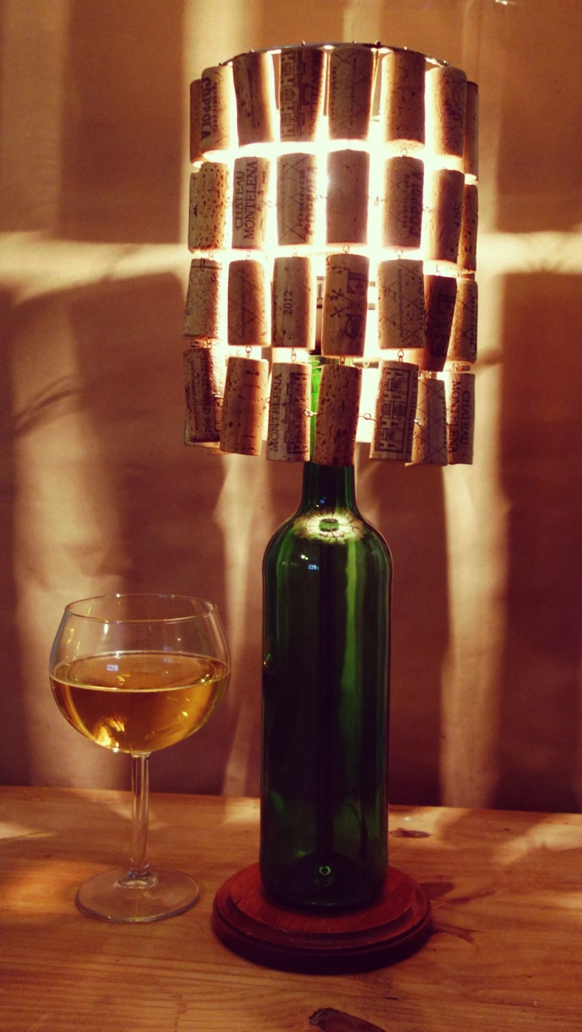 Wine bottle lamp with wine cork lamp shade for Champagne bottle lamp