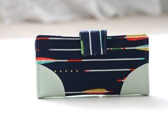 Mint and Navy Arrows // Women's Wallet // Handmade Wallet