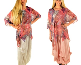 HP300ZB3 ladies blouse tunic tip tunic chiffon layered look Gr. 36-50 Pink/Purple