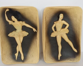 Pretty Pair of Chalkware Ballerinas