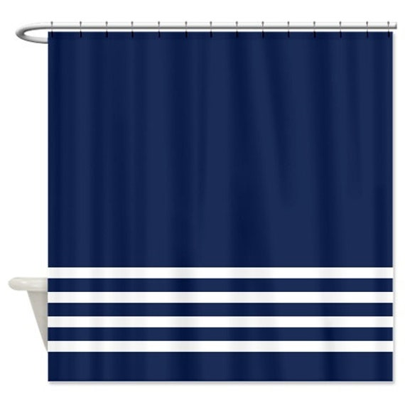 Striped Shower Curtain Navy Blue and Mint Stripes OR Customize