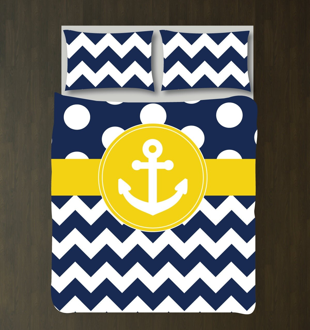 Custom nautical duvet bedding set navy blue white polka dots - Navy blue and yellow bedding ...