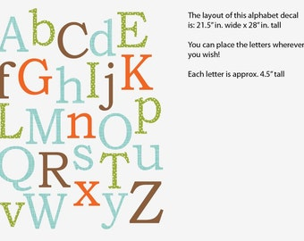 Alphabet Wall Decal, Nursery Wall Decal, Alphabet Wall art, alphabet decal, Wonderwall Design