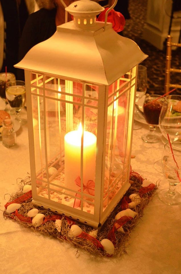 Seashell beach lantern centerpieces
