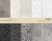 STERLING 12x12 Digital Papers    scrapbook printable sheets   grey gray silver ivory damask vintage texture marble travertine