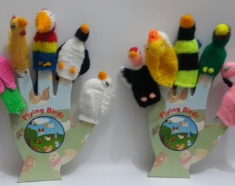 lot of 10 Flying birds  Hand knitted Finger Puppets with 2 solid cardboard hands