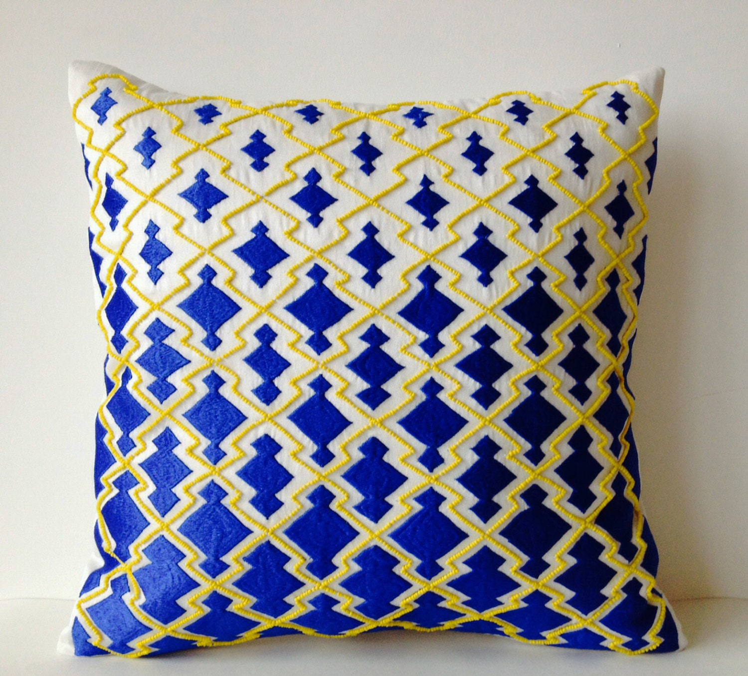 Royal Blue And White Throw Pillows : Throw Pillows Royal Blue Decorative Pillowcase in by AmoreBeaute