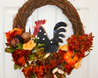 Fall Grapevine Wreath, Autumn Wreath, Rooster Wreath