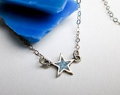 "Mini Hip 1970s Star Sterling Necklace & Genuine Turquoise Inlay Sterling Silver 15"" Chain."
