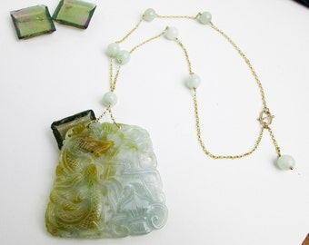 1950s Hand Carved Genuine Jadeite, 14K Dragon & Phoenix Necklace, Genuine Jade NOT Dyed, Hong Kong.