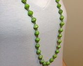 Lime Green Recycled Paper Bead Necklace with Tiny Green Beads, Handmade in Uganda