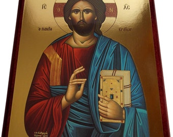 Jesus Christ - Blessing, Pantocrator - Orthodox Byzantine icon - Gilded icon on wood (28cm x 21.5)