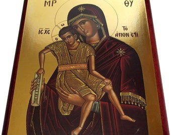 Virgin Mary - Axion Esti - Orthodox Byzantine icon - Gilded Large icon on wood (28cm x 21.5)
