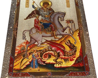 Saint St. George - Orthodox Byzantine icon - Gilded Silver Plated icon on wood (30cm x 22.2cm)