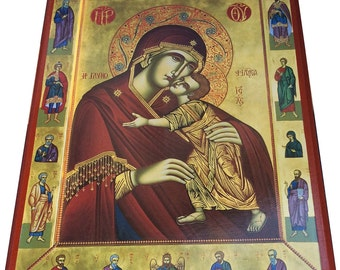 Virgin Mary - Sweet Kissing - Orthodox Byzantine icon on wood (30cm x 22.2cm)