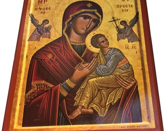 Virgin Mary - Formidable Portection - Orthodox Byzantine Icon on wood (30cm x 22.2cm)
