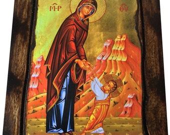 Jesus Christ - The First Steps Of Jesus - Orthodox Byzantine icon on wood handmade (22.5cm x 17cm)