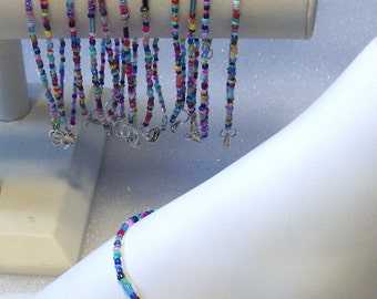 Hand Beaded 12 Anklets, Ankle Bracelets,  Fully Beaded Boho, Hippie, Beachwear, Lots, Jewelry, Accessories