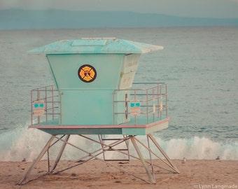 "California Beach Photography - lifeguard station santa cruz beach boardwalk summer photography 8x10 11x14 16x20 blue wall decor ""Lifeguard"""