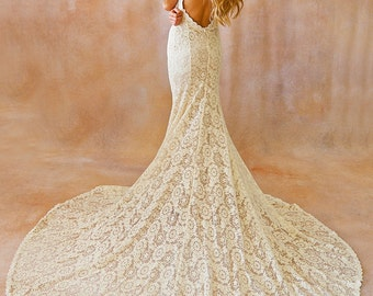 Backless lace wedding dresses etsy