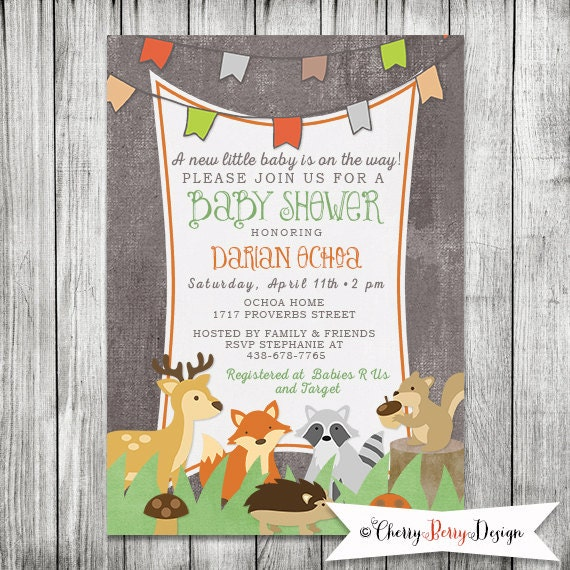 Woodland Baby Shower Invite with Forest Animals 5x7 JPG