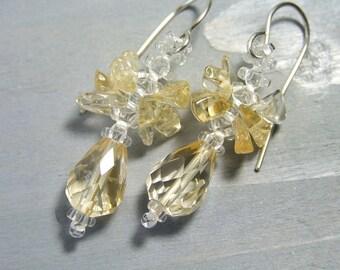 Faceted Citrine Earrings Dangle Teardrop Earrings, November Birthstone Jewelry Yellow Earrings Gemstone Jewelry, Sterling Unique Handmade