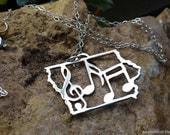 State of Iowa Music Notes necklace