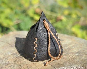 small leather brown coin pouch, coin purse, leather purse, money pouch, small bag