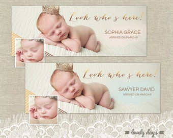 Newborn Facebook Timeline Birth Announcement Template for Photographers INSTANT DOWNLOAD