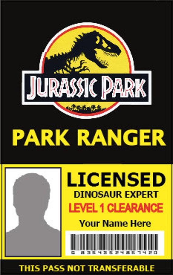 Items Similar To Custom Jurassic Park Pvc Id Pass Park
