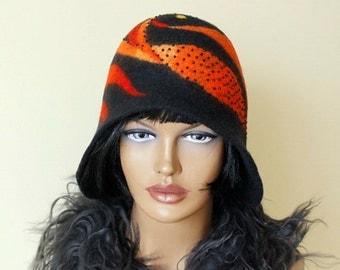 Black hat with orange decoration Black cloche Felt hat Felted hat Cloche felted