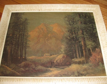 """1930s CABIN IN The MOUNTAINS Print In Original Ribbed White Frame 19"""" x 23"""""""