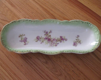 """VICTORIA AUSTRIA LONG Victorian Serving Dish 13 1/2"""" x 5 1/2"""" Green With Purple Flowers"""