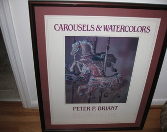 """1984 PETER P BRIANT Art Exhibition Poster Carousels And Watercolors Delgado Gallery 26 1/4"""" X 32"""""""