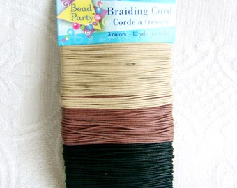 Cotton Beading Cord, 3 colors, 12 Yards Each Color