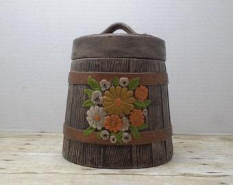 Cookie Jar vintage ceramic, barrel with flowers, 1970s