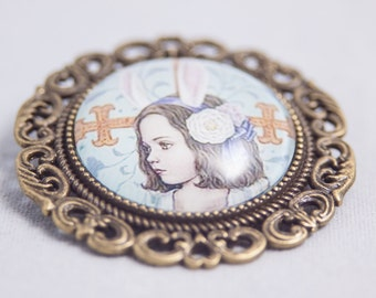 Glass Cabochon Pin/Brooch - Girl With Bunny Ears - Antique Bronze Setting