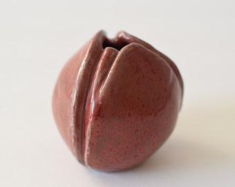 Collectible Royal Copenhagen - chestnut vase - 22271 - Gerd Hiort Petersen - oxblood glaze - midcentury
