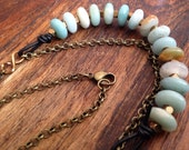 Gorgeous Sundance style leather, amazonite natural stone and brass nugget necklace on brass rolo chain