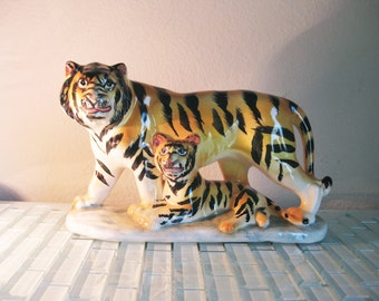 Siberian Tiger and Cub Statue JAPAN - Large