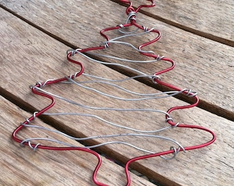 Handmade Red & Silver Wire Christmas Tree Ornament OR-121114-12