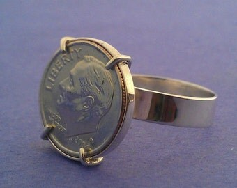 Coin Ring in Sterling Silver. Handmade Dime ring in prong setting.