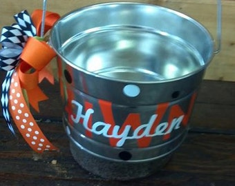 Personalized metal buckets with ribbons