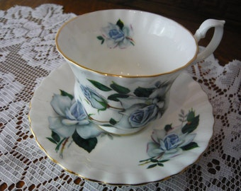 Vintage Royal Albert Blue Gray  Rose  Cup and Saucer Circa 1940s to 1970s