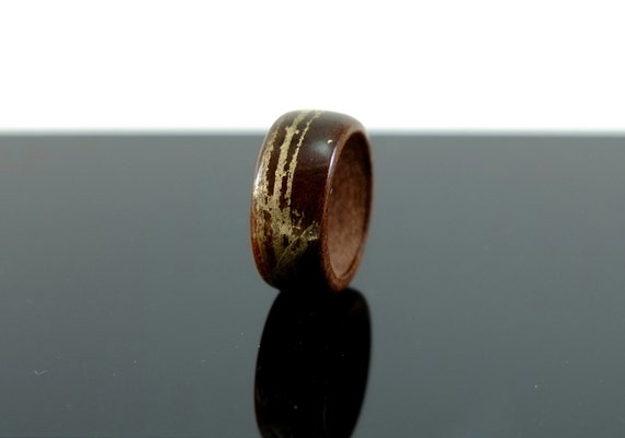 Teak and moon gold wooden ring