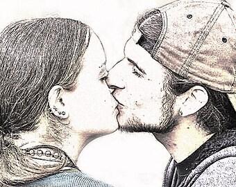Custom Portrait - Digital Sketch - Custom Artwork - Family Portrait  -Sketch from Photo - couple kissing - wedding art - engagement portrait