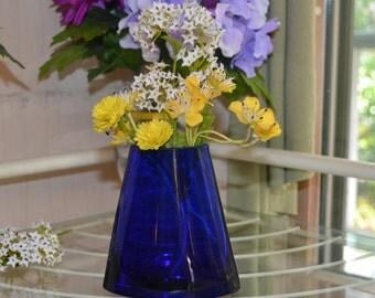 Vintage Cobalt Blue Retro Modern Bud Vase