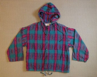 1990's, woven, beach hoodie, in turquoise, magenta and purple, Women size Medium/Large